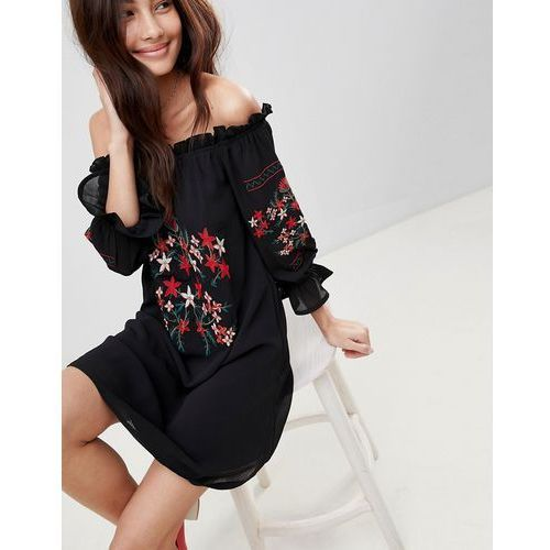 Parisian off shoulder embroidered dress - black