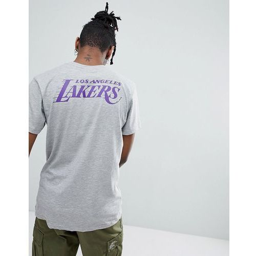 New era nba los angeles lakers t-shirt with back print in grey - grey