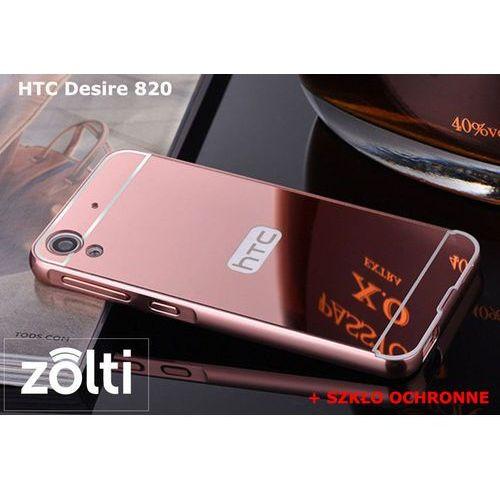 Zestaw | Mirror Bumper Metal Case Różowy + Szkło ochronne Perfect Glass | Etui dla HTC Desire 820 - produkt z kategorii- Futerały i pokrowce do telefonów