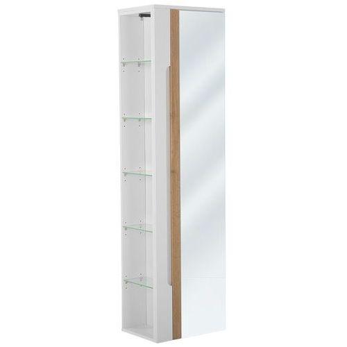 Szafka łazienkowa wysoka z lustrem GALAXY BIAŁY 802 UNI., kolor biały