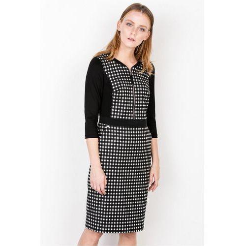 Patrizia aryton Sukienka w czarno-białą kratkę -