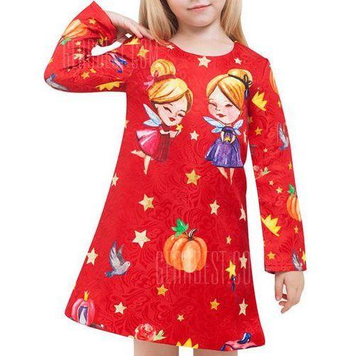 Fairy Print Long Sleeve A Line Dress - sprawdź w wybranym sklepie