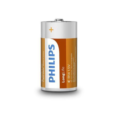 2 x bateria cynkowo-węglowa Philips LongLife R14 C (taca) (8712581549671)