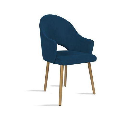 Krzesło BARI granatowy/ noga złota/ SO263, kolor niebieski