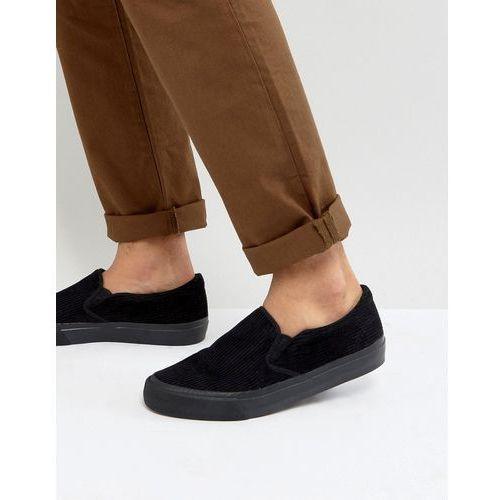 ASOS Slip On Plimsolls In Black Cord With Black Sole - Black