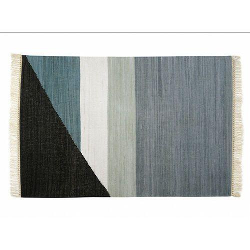 Dywan kilimowy tkany ręcznie z bawełny MYCENE - 160x230cm - Szary, czarny, biały i niebieski