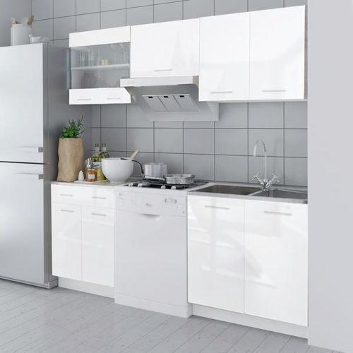 Zestaw mebli kuchennych na wysoki połysk, 5 części, biały, 200 cm marki Vidaxl