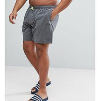 ASOS PLUS Swim Shorts In Dark Grey With Neon Yellow Drawcord Mid Length - Grey, kolor szary
