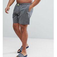 plus swim shorts in dark grey with neon yellow drawcord mid length - grey marki Asos