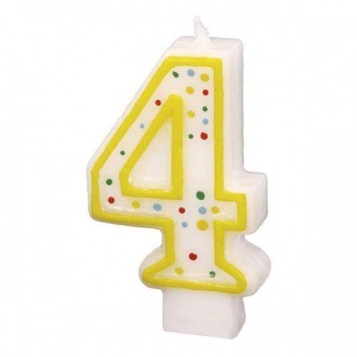 """Świeczka cyfra z kropkami """"4"""" (4009775121442)"""