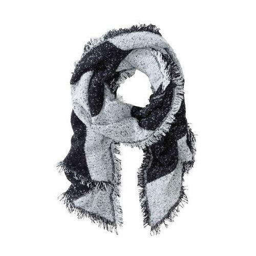 Szal xxl, miękki materiał czarno-biały w paski marki Bonprix