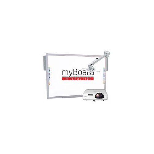 """ZESTAW! Tablica interaktywna myBoard Silver 95""""C + projektor Epson EB-525W z uchwytem ściennym myBoard BW120S + okablowanie 10 m (230V, HDMI) + głośniki AMP-32"""