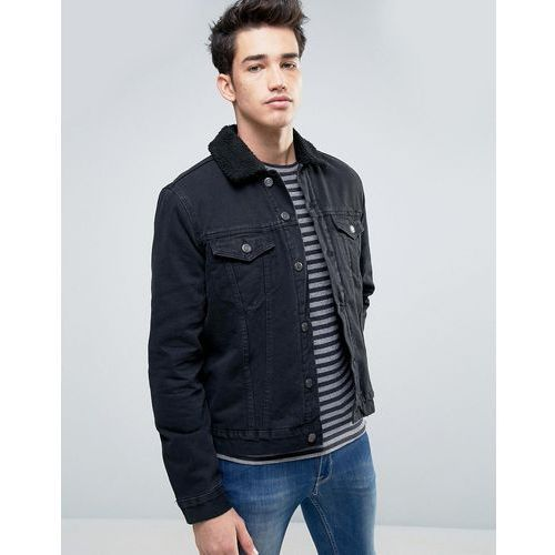 New Look Denim Jacket With Borg Detail In Black - Black