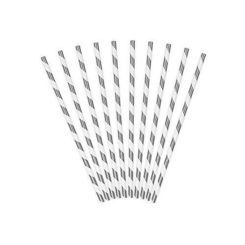 Słomki rurki metalizowane srebrne z białymi paskami - 10 szt. marki Party deco