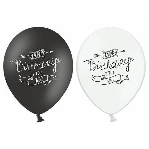 Twojestroje.pl Balon lateksowy happy b-day to you czarny/biały 30 cm 1 szt. (5902230798380)