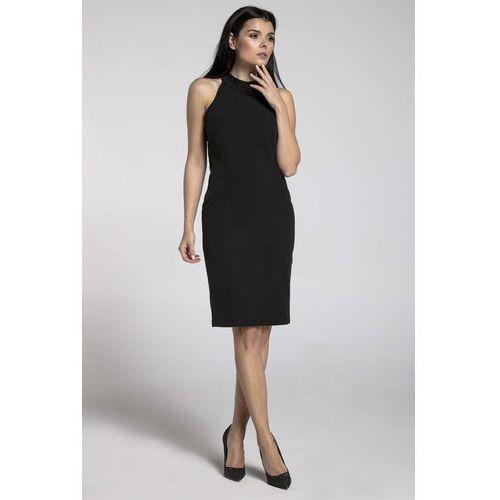 Czarna Stylowa Sukienka Bodycon z Półgolfem