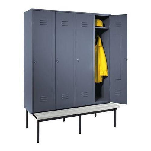 Szafka na ubrania z ławeczką u dołu, pełne drzwi, szer. przedziału 400 mm, 4 prz
