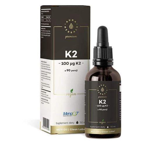 Płyn Witamina K2mk7 K2-MK7 w płynie 100 mcg 90 porcji 50 ml Aura Herbals Premium