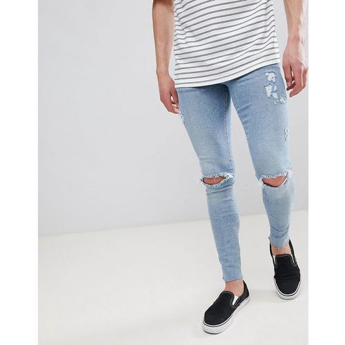 River Island Super Skinny Jeans With Rips In Light Wash Blue - Blue