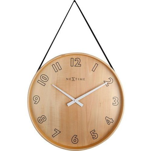Zegar na ścianę wiszący na taśmie Loop Big Nextime czarny (3234 ZW), kolor czarny