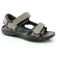 KENT 295 SZARY-CZARNY - Męskie skórzane sandały - Szary ||Czarny, kolor szary