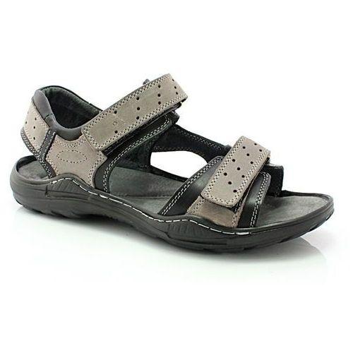 KENT 295 SZARY-CZARNY - Męskie skórzane sandały - Szary ||Czarny