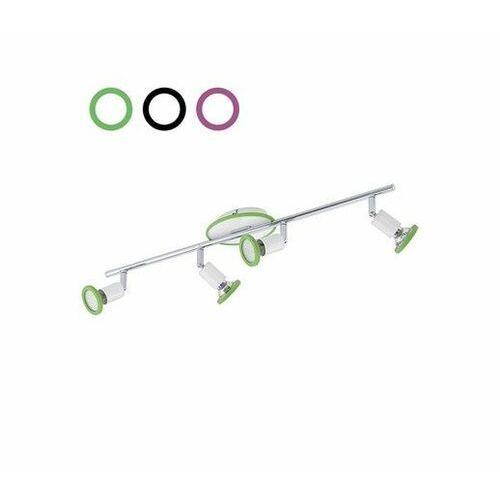 Eglo Reflektorki listwa 4xgu10 + 3kolory silikonowe pierścienie