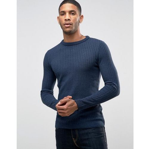 River Island Muscle Fit Jumper In Ribbed Knit In Dark Blue - Blue