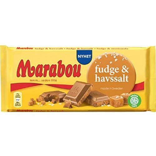 Marabou - fudge & havssalt - czekolada mleczna z kawałkami toffi i soli morskiej - 185g - ze szwecji (7622210675446)
