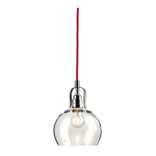 Kaspa Lampa wisząca longis i 10124109 szklana oprawa minimalistyczny zwis przezroczysty czerwony
