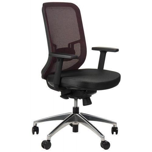 Krzesło obrotowe biurowe z podstawą aluminiową i wysuwem siedziska model GN-310/BORDO fotel biurowy obrotowy, GN-310/ALU/CLARET