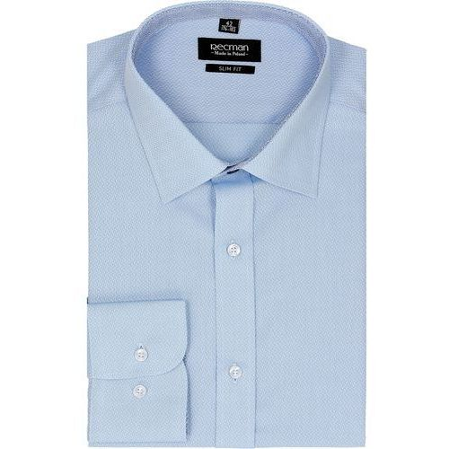 Koszula bexley 2295 długi rękaw slim fit niebieski marki Recman