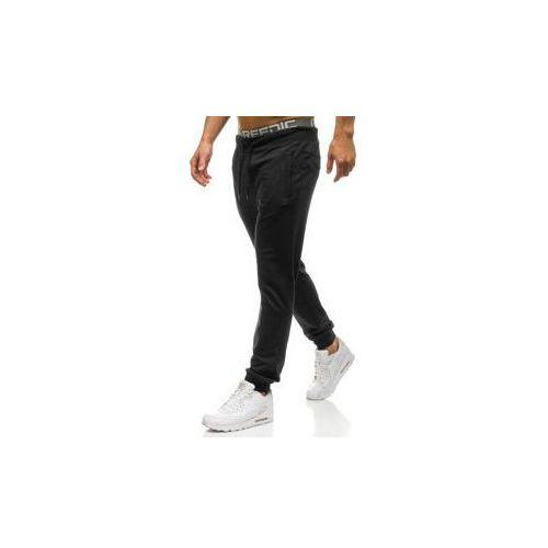 Spodnie męskie dresowe joggery czarne Denley W2660