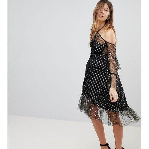 maternity long sleeve cold shoulder metallic star print midi dress with thigh split - black marki Queen bee