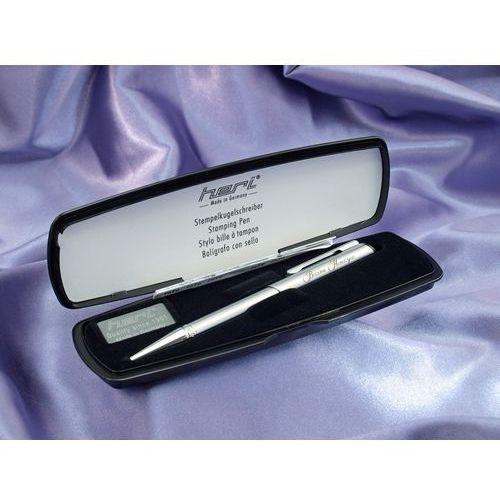 Długopis z pieczątką heri diagonal srebrny w etui (model 3004) marki Grawernia.pl - grawerowanie i wycinanie laserem