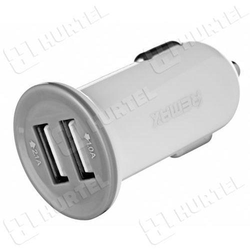 REMAX uniwersalna ładowarka samochodowa 2 x USB 2.1A 1A biała - Biały (7426775348599)