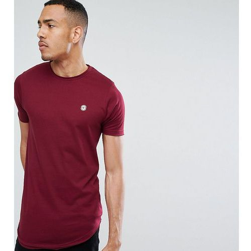 Le Breve Tall Raw Edge Longline T-Shirt - Red, 1 rozmiar