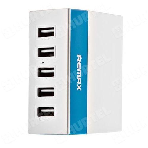 Remax  uniwersalna ładowarka sieciowa 5x usb 1a 2.1a 2.4a youth niebieska - niebieski