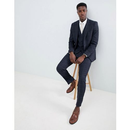 French Connection Tweed Square Slim Fit Heritage Suit Trousers - Blue