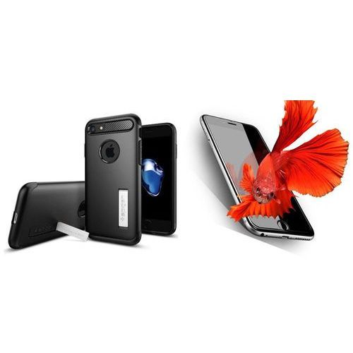 Zestaw | spigen sgp slim armor black | obudowa + szkło ochronne perfect glass dla modelu apple iphone 7 marki Sgp - spigen / perfect glass