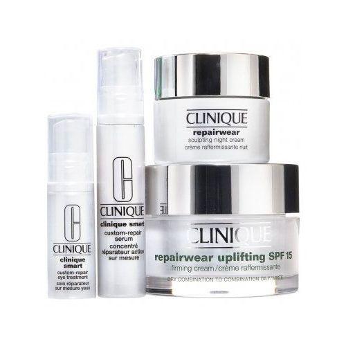 Clinique Set  gifted and lifted repairwear uplifting spf15 (w) krem do twarzy 50ml + krem na noc 15ml + serum 10ml + kuracja pod oczy 5ml