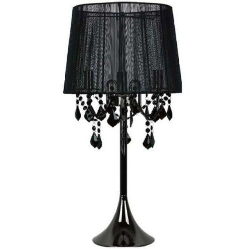 Stojąca lampa stołowa mona lp-5005/1t bk abażurowa lampka do sypialni glamour crystal czarna marki Light prestige