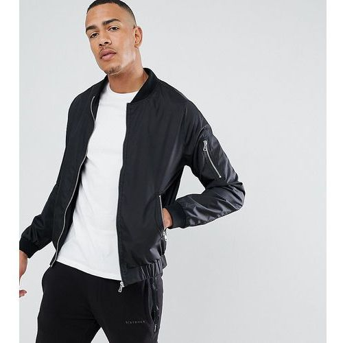 tall nylon zip through bomber jacket - black marki D-struct