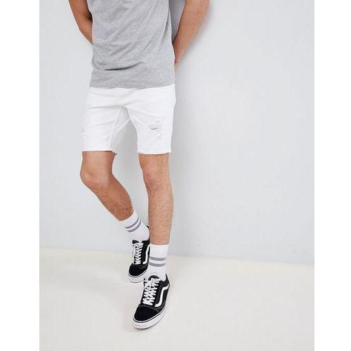 slim fit denim shorts with rips in white - white marki Bershka