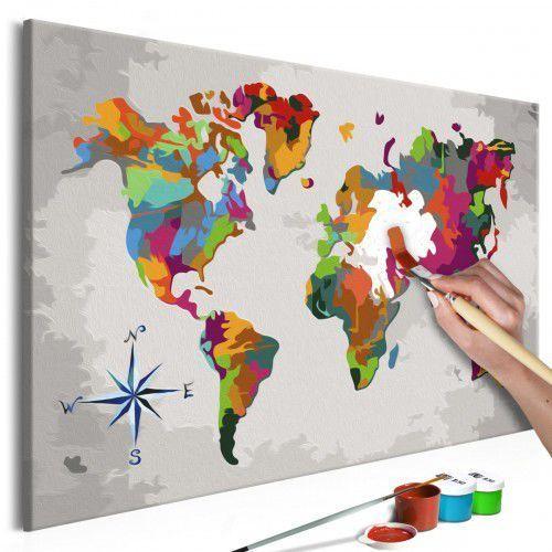 Obraz do samodzielnego malowania - Mapa świata (z różą wiatrów), A0-MA_0079 (10110387)