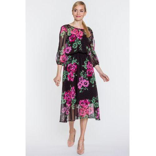 Click fashion Czarna sukienka maxi w kwiaty -