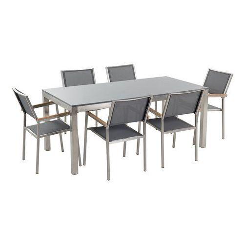 Meble ogrodowe - stół granitowy - cała płyta - 180 cm szary polerowany z 6 szarymi krzesłami - GROSSETO (7081456876428)