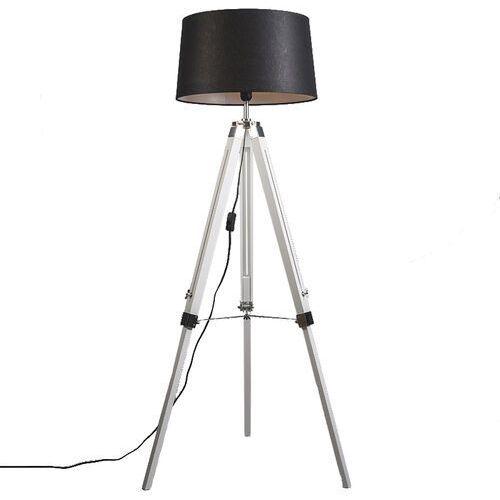 Lampa podłogowa biała klosz lniany czarny 45cm - tripod marki Qazqa