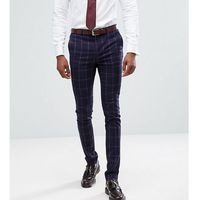 Asos tall super skinny suit trousers in navy and pink windowpane check - navy