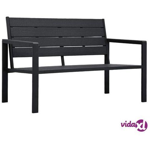 Vidaxl ławka ogrodowa, 120 cm, czarna, hdpe o wyglądzie drewna